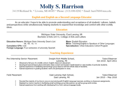 English Teacher Resume Sample Inspiration Decoration
